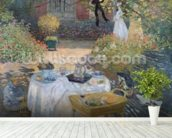 The Luncheon: Monets garden at Argenteuil, c.1873 (oil on canvas) mural wallpaper in-room view