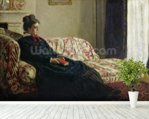 Meditation, or Madame Monet on the Sofa, c.1871 (oil on canvas) wall mural room setting