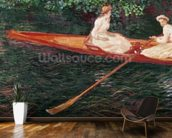 Boating on the river Epte, c.1889-1890 (oil on canvas) mural wallpaper kitchen preview