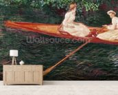Boating on the river Epte, c.1889-1890 (oil on canvas) mural wallpaper living room preview