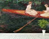 Boating on the river Epte, c.1889-1890 (oil on canvas) mural wallpaper in-room view