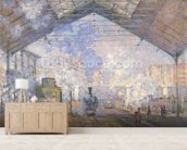 The Gare St. Lazare, 1877 (oil on canvas) wall mural living room preview