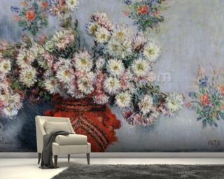 Chrysanthemums, 1878 (oil on canvas) wallpaper mural