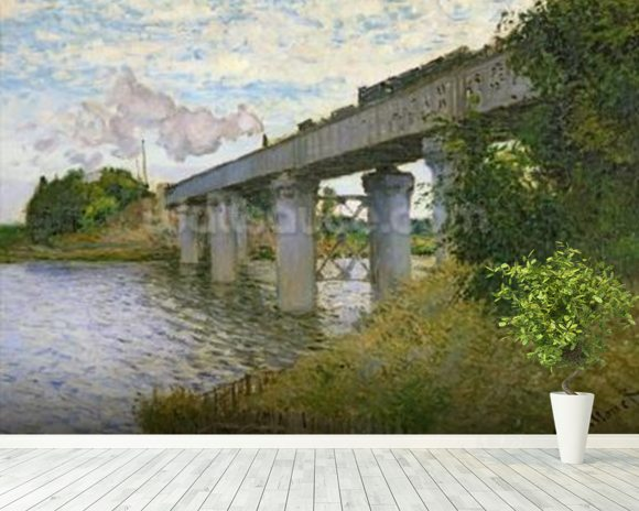 The Railway Bridge at Argenteuil, 1874 (oil on canvas) mural wallpaper room setting