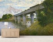 The Railway Bridge at Argenteuil, 1874 (oil on canvas) mural wallpaper living room preview