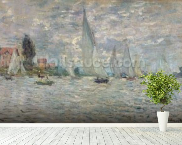 The Boats, or Regatta at Argenteuil, c.1874 (oil on canvas) wall mural room setting