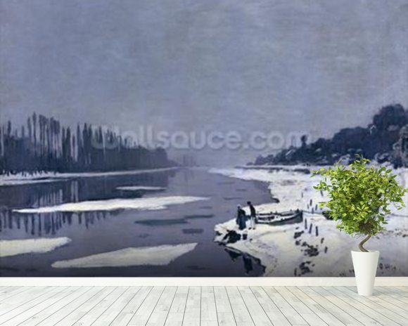 Ice floes on the Seine at Bougival, c.1867-68 (oil on canvas) wallpaper mural room setting