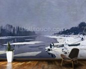 Ice floes on the Seine at Bougival, c.1867-68 (oil on canvas) wallpaper mural kitchen preview