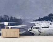 Ice floes on the Seine at Bougival, c.1867-68 (oil on canvas) wallpaper mural living room preview