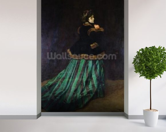 Camille, or The Woman in the Green Dress, 1866 (oil on canvas) mural wallpaper room setting