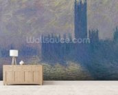 The Houses of Parliament, Stormy Sky, 1904 (oil on canvas) wall mural living room preview