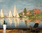 Regatta at Argenteuil, c.1872 (oil on canvas) wallpaper mural kitchen preview