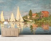 Regatta at Argenteuil, c.1872 (oil on canvas) wallpaper mural living room preview