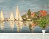 Regatta at Argenteuil, c.1872 (oil on canvas) wallpaper mural in-room view