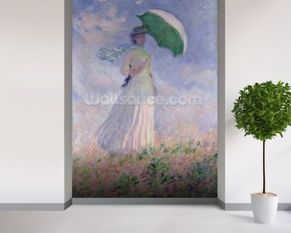 Woman with a Parasol turned to the Right, 1886 (oil on canvas) mural wallpaper room setting