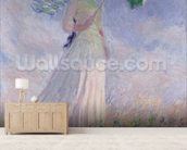 Woman with a Parasol turned to the Right, 1886 (oil on canvas) mural wallpaper living room preview