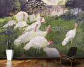 The Turkeys at the Chateau de Rottembourg, Montgeron, 1877 (oil on canvas wall mural kitchen preview