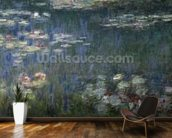 Waterlilies: Green Reflections, 1914-18 (left section) (oil on canvas) wallpaper mural kitchen preview