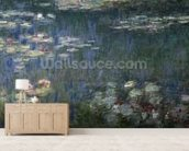 Waterlilies: Green Reflections, 1914-18 (left section) (oil on canvas) wallpaper mural living room preview