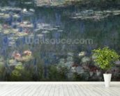 Waterlilies: Green Reflections, 1914-18 (left section) (oil on canvas) wallpaper mural in-room view