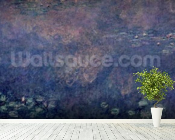 Waterlilies: Two Weeping Willows, centre left section, 1914-18 (oil on canvas) (see also 75700, 75702-03) wall mural room setting