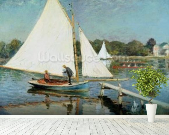 Sailing at Argenteuil, c.1874 (oil on canvas) mural wallpaper room setting