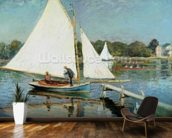 Sailing at Argenteuil, c.1874 (oil on canvas) mural wallpaper kitchen preview