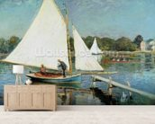 Sailing at Argenteuil, c.1874 (oil on canvas) mural wallpaper living room preview