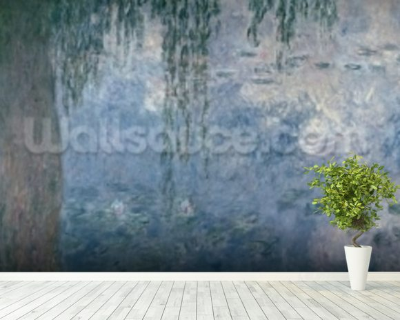 Waterlilies: Morning with Weeping Willows, 1914-18 (right section) wallpaper mural room setting