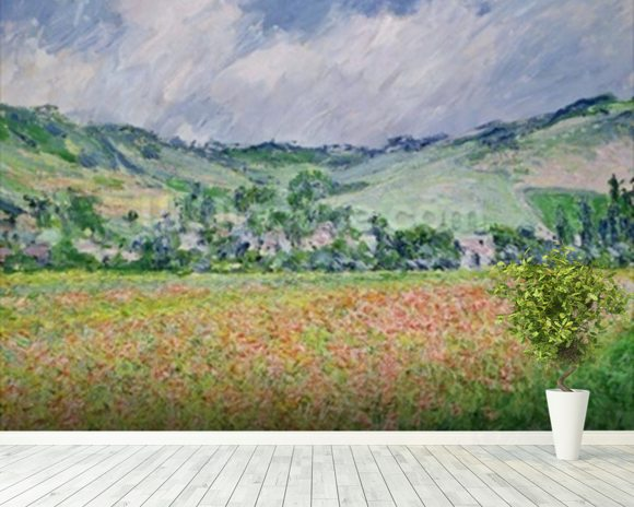 The Poppy Field near Giverny, 1885 (oil on canvas) wallpaper mural room setting