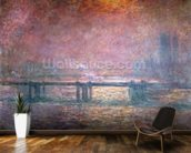 The Thames at Charing Cross, 1903 (oil on canvas) mural wallpaper kitchen preview