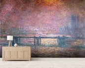 The Thames at Charing Cross, 1903 (oil on canvas) mural wallpaper living room preview