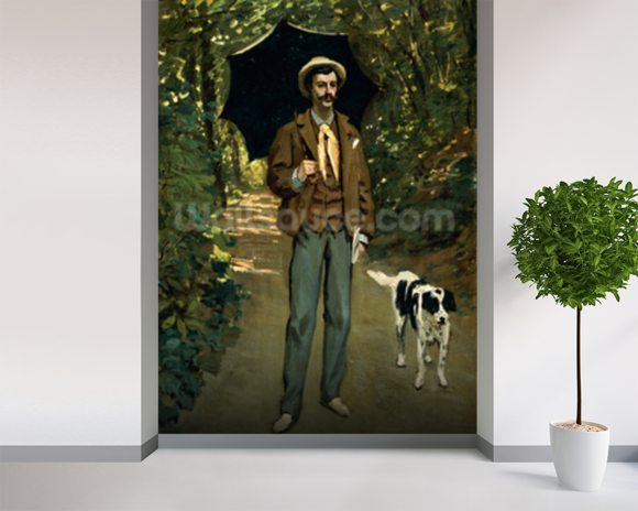 Man with an Umbrella, c.1868-69 (oil on canvas) wall mural room setting
