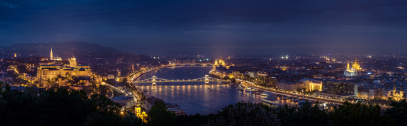 Budapest at Night mural wallpaper