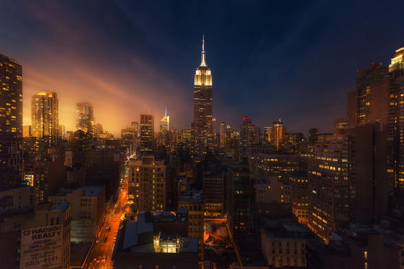 NYC Skyline at Dusk mural wallpaper