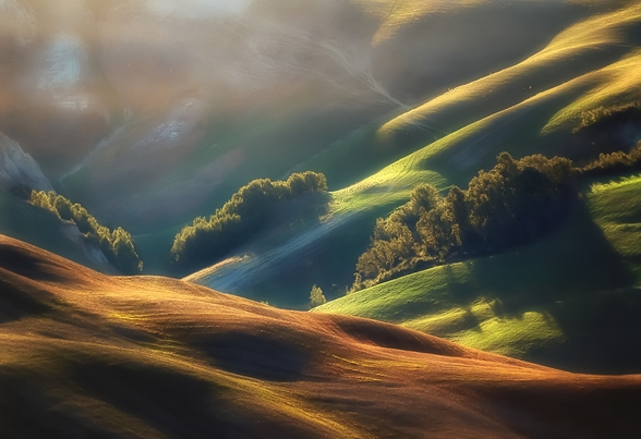 Tuscany Sunrise wallpaper mural