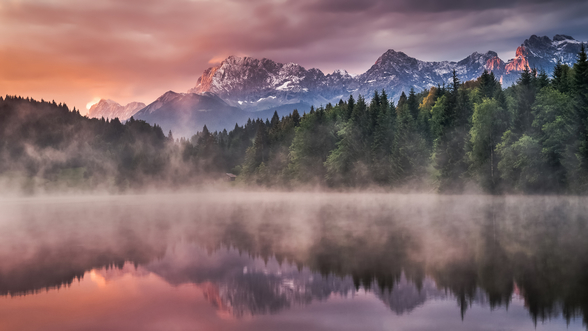 Sunrise at the Lake mural wallpaper