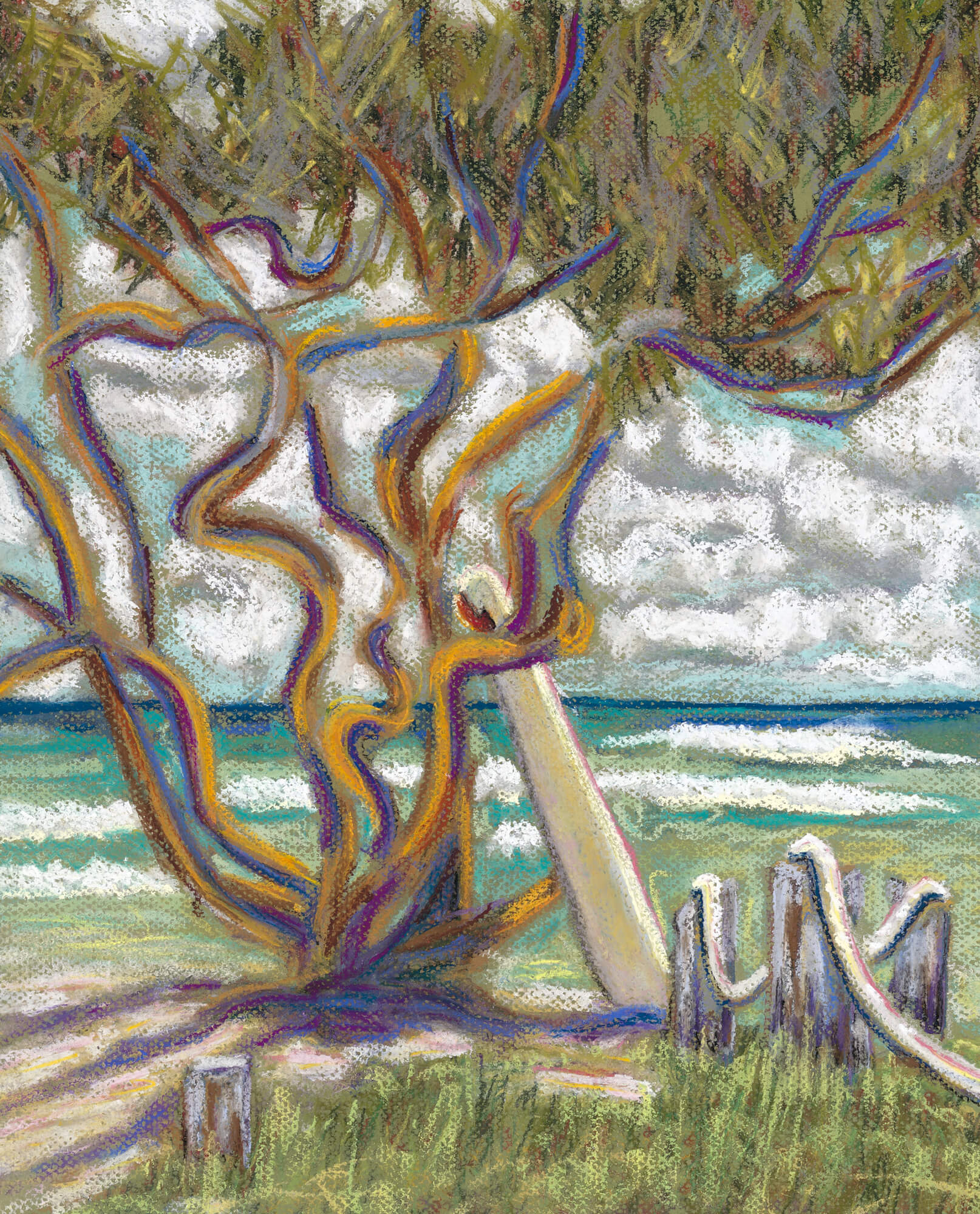 Malaekahana tree surfboard wall mural malaekahana tree for Designer wallpaper mural
