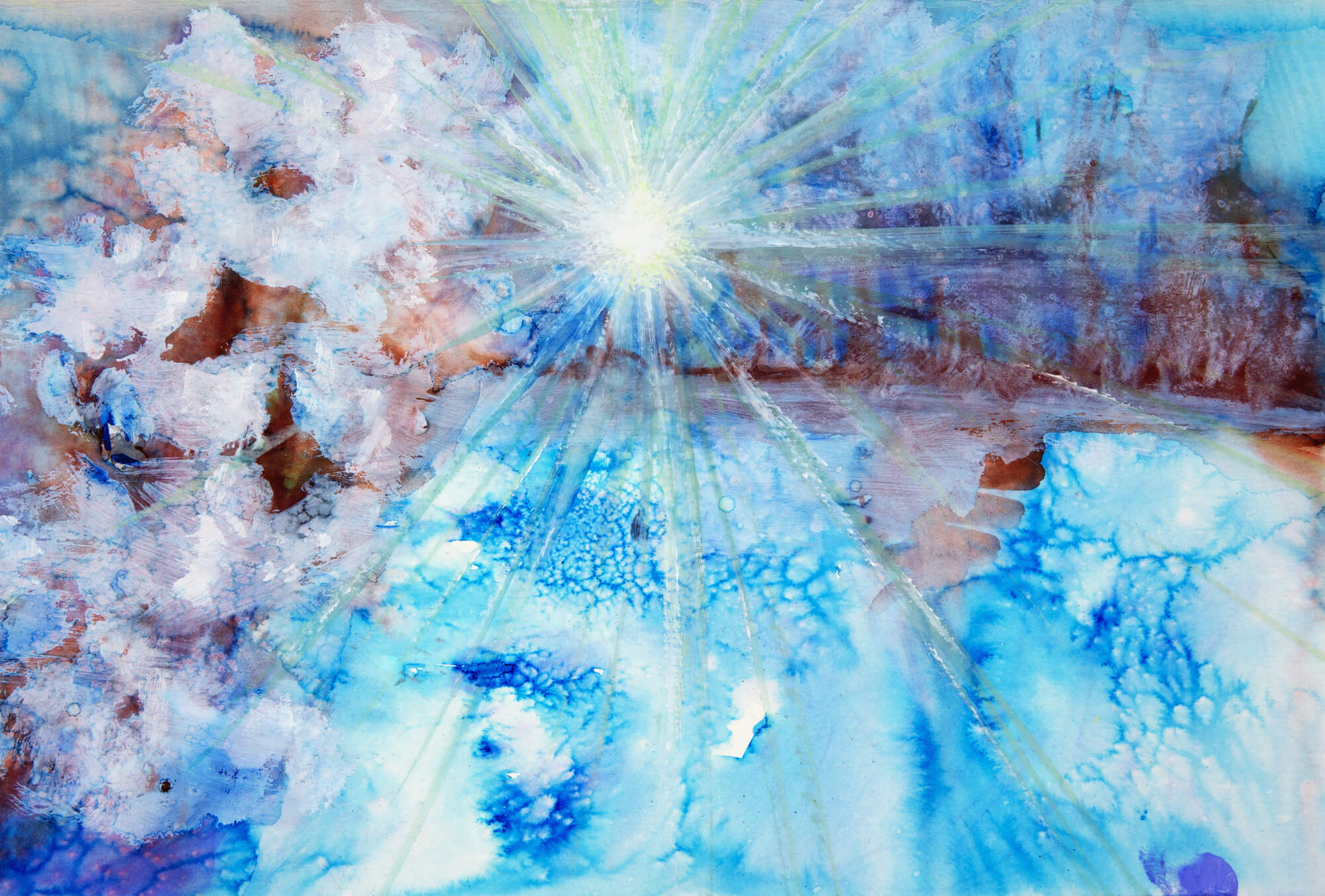 Abstract watercolour painting with a starburst wall mural for Abstract mural painting