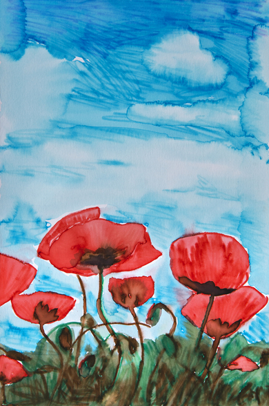 Painting of Red Poppies wall mural