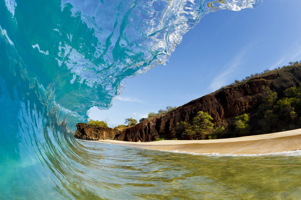 Hawaii, Makena Beach, Beautiful Wave Breaking Along Shore mural wallpaper