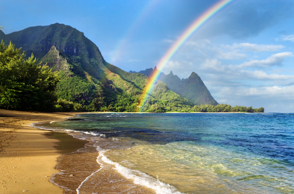 Kauai Rainbow mural wallpaper