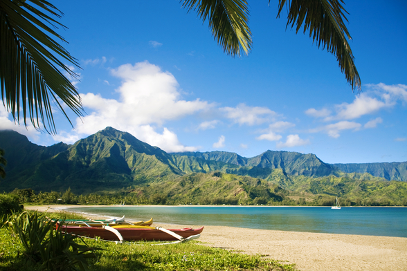 Hawaii, Kauai, Hanalei Bay, Outrigger Canoes On Resort Beach. wallpaper mural