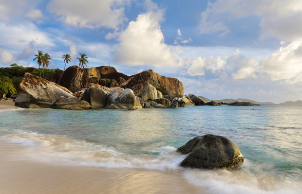 British Virgin Islands, Virgin Gorda, Tropical Beach Seascape mural wallpaper