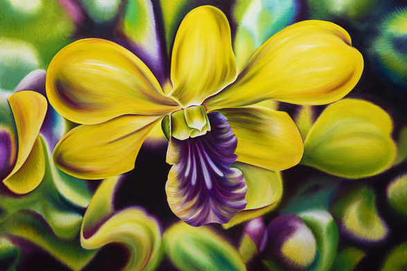 Close-Up Of Yellow Orchid Blossom (Oil Painting) wallpaper mural