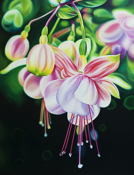 Begin Again, Close-Up Of Fuschia Blossoms (Oil Painting) mural wallpaper