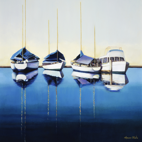 Yacht Harbor, Sailboats Docked In Harbor wall mural