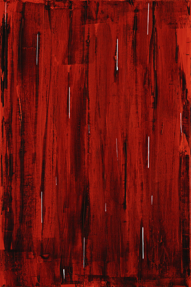 Rain - Abstract Painting In Red And Black wall mural