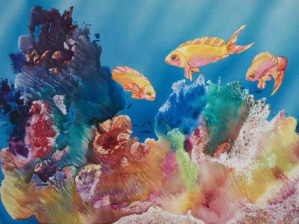 All Dressed Up - Tropical Reef Scene mural wallpaper