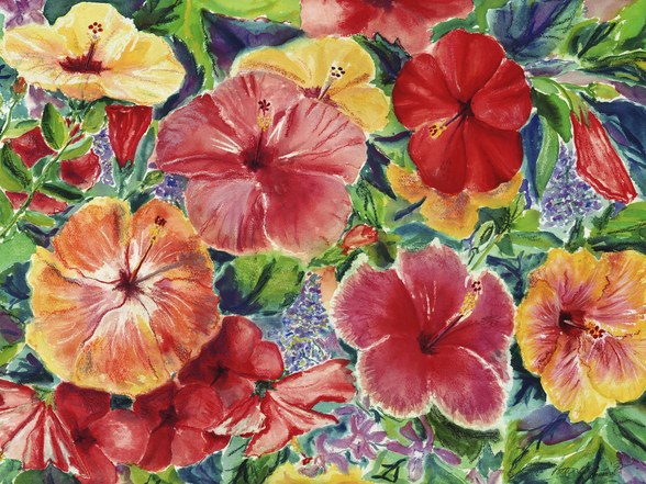 Floral Arrangement With Hibiscus Blossoms mural wallpaper